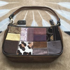 Authentic coach legacy patchwork holiday wristlet